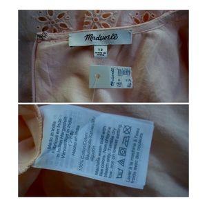 Madewell Dresses - Madewell Pink Eyelet Scalloped Midi Dress